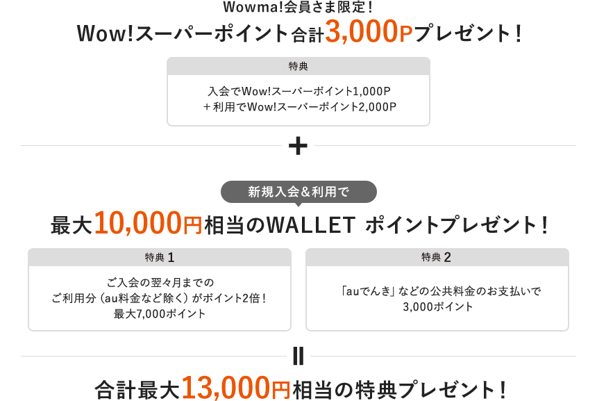 Wowma!会員さま限定!Wow!スーパーポイント合計3,000Pプレゼント!+新規入会&利用で最大10,000円相当のWALLET ポイントプレゼント!合計最大13,000円相当の特典プレゼント!