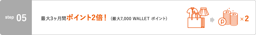 STEP5 最大3ヶ月間ポイント2倍!(最大7,000 WALLET ポイント)
