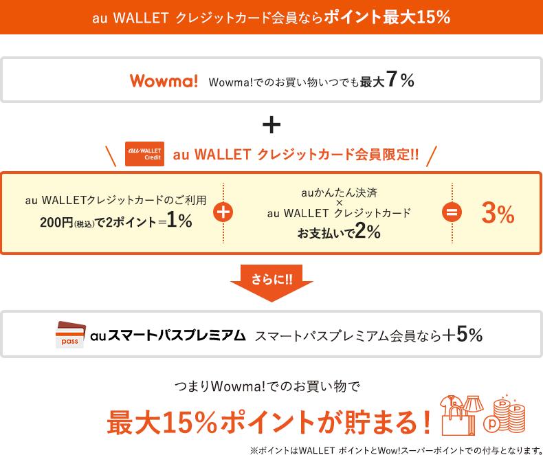 au WALLET クレジットカード会員ならポイント最大15% Wowma!でのお買い物いつでも最大7%+au WALLET クレジットカード会員限定!!au WALLET クレジットカードのご利用200円(税込)で2ポイント=1%+auかんたん決済 × au WALLET クレジットカードお支払いで2% = 3% さらに!!auスマートパスプレミアム会員なら+5% つまりWowma! でのお買い物で最大15%ポイントが貯まる!※ポイントはWALLET ポイントとWow!スーパーポイントでの付与となります。