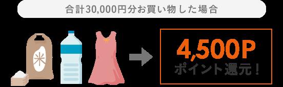合計30,000円分お買い物した場合4,500Pポイント還元