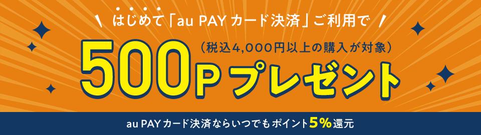 (税込4,000円以上の購入で)はじめて「au PAY カード決済」ご利用で500Pプレゼント au PAY カード決済ならいつでもポイント5%還元