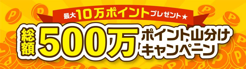 最大10万ポイントプレゼント★総額500万!山分けキャンペーン